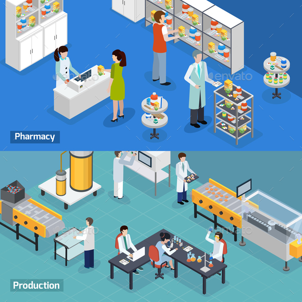 Pharmaceutical Production 2 Isometric Banners - Industries Business