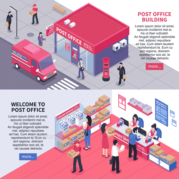 GraphicRiver Post Office Isometric Horizontal Banners 20830427
