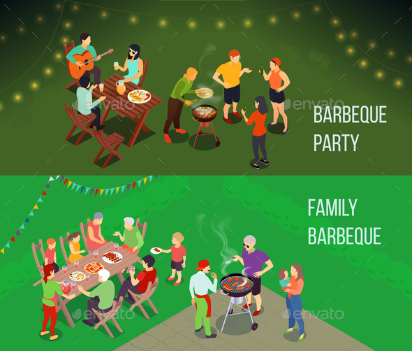 GraphicRiver Family Picnic Isometric Banners 20830431