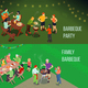 Family Picnic Isometric Banners