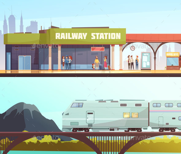 Railway Station and Bridge Horizontal Banners - Travel Conceptual