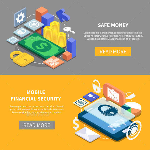 GraphicRiver Financial Security Isometric Banners 20830446