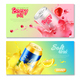 Aluminum Cans Drinks Horizontal Banner Set