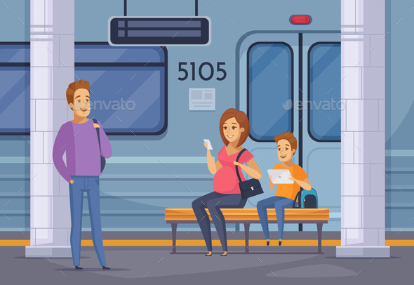 GraphicRiver Subway Underground People Cartoon Composition 20830455