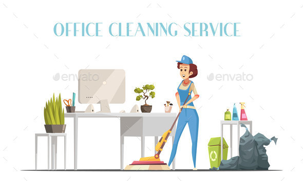 Office Cleaning Service Design Concept - Miscellaneous Vectors