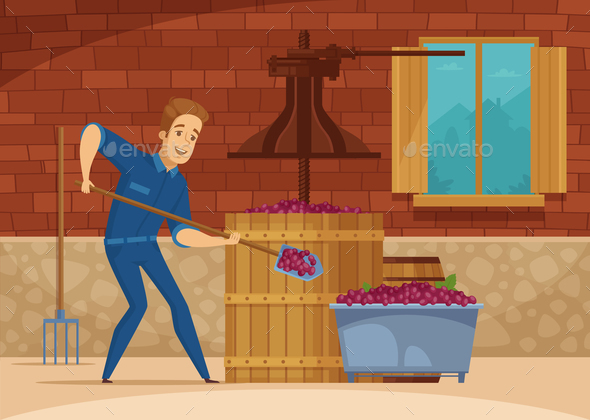 Winery Grapes Crushing Cartoon Poster - Food Objects