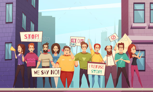 GraphicRiver Protesting Crowd Vector Illustration 20830460