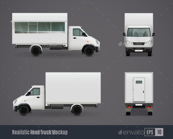 Food Motor Van Mockups - Food Objects