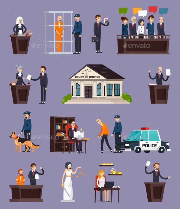 GraphicRiver Law and Justice Orthogonal Icons Set 20830462
