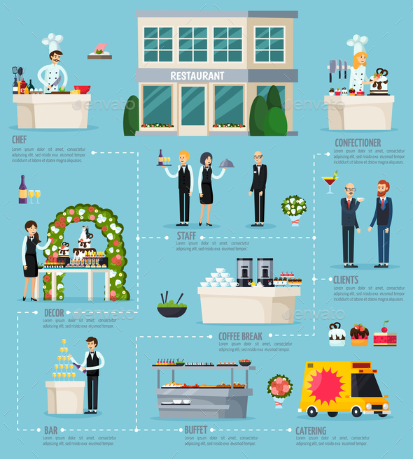GraphicRiver Catering Orthogonal Flat Infographics 20830466