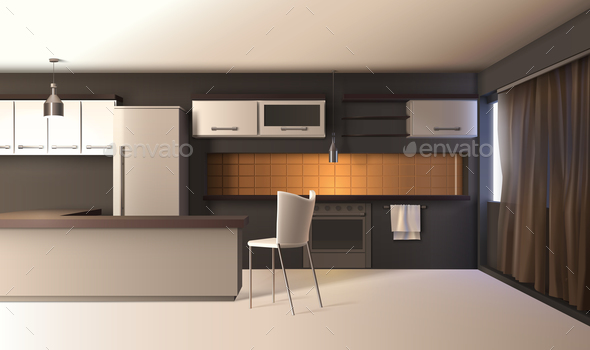 Modern Kitchen Realistic Interior - Miscellaneous Vectors