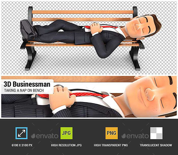 3D Businessman Taking a Nap on Public Bench - Characters 3D Renders
