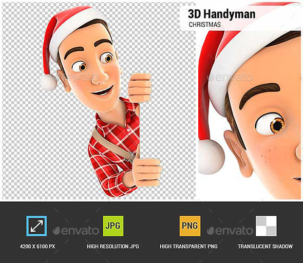 3D Handyman with Christmas Hat Peeping Over Wall - Characters 3D Renders