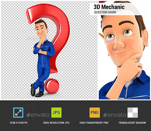 GraphicRiver 3D Mechanic Leaning Back Against Question Mark 20830489