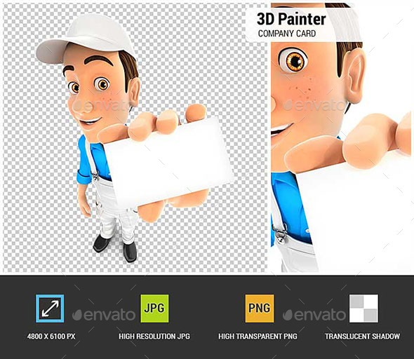 GraphicRiver 3D Painter Holding Company Card 20830495