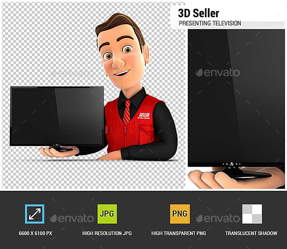 3D Seller Presenting Television - Characters 3D Renders