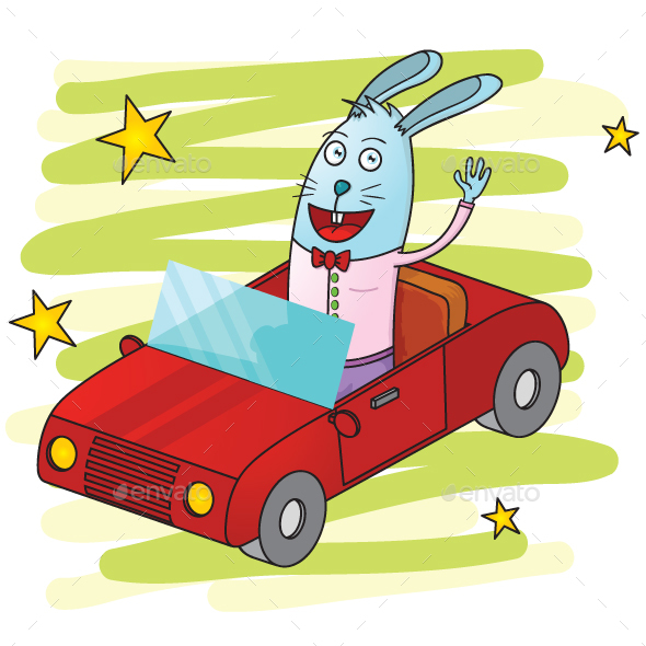 Rabbit Driving a Car - Animals Characters