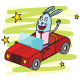 Rabbit Driving a Car - GraphicRiver Item for Sale