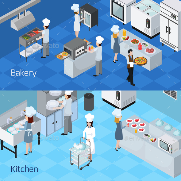 Professional Kitchen Interior Horizontal Banners - Food Objects