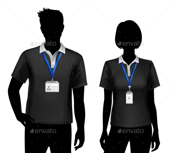 GraphicRiver Employees Silhouettes ID Cards Badges 20830650