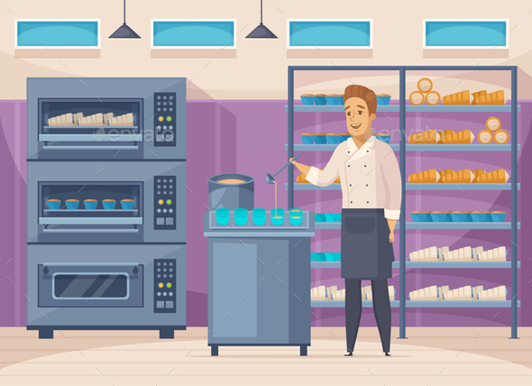 Confectionery Factory Cartoon Composition - Food Objects
