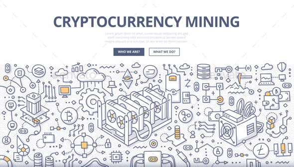 Cryptocurrency Mining Doodle Concept - Miscellaneous Vectors