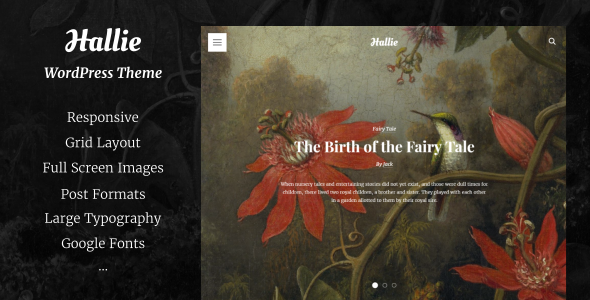 Hallie - WordPress Theme for Writers - Blog / Magazine WordPress