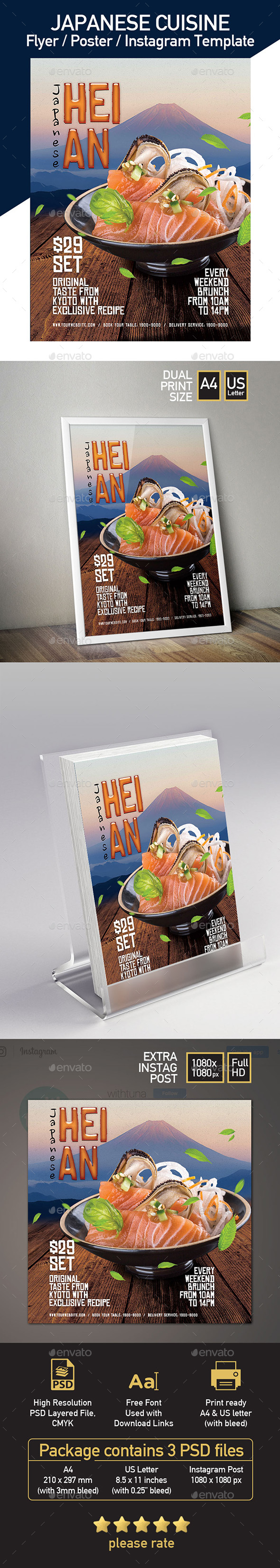 Japanese Restaurant Flyer Promotion - Set of 3 Templates