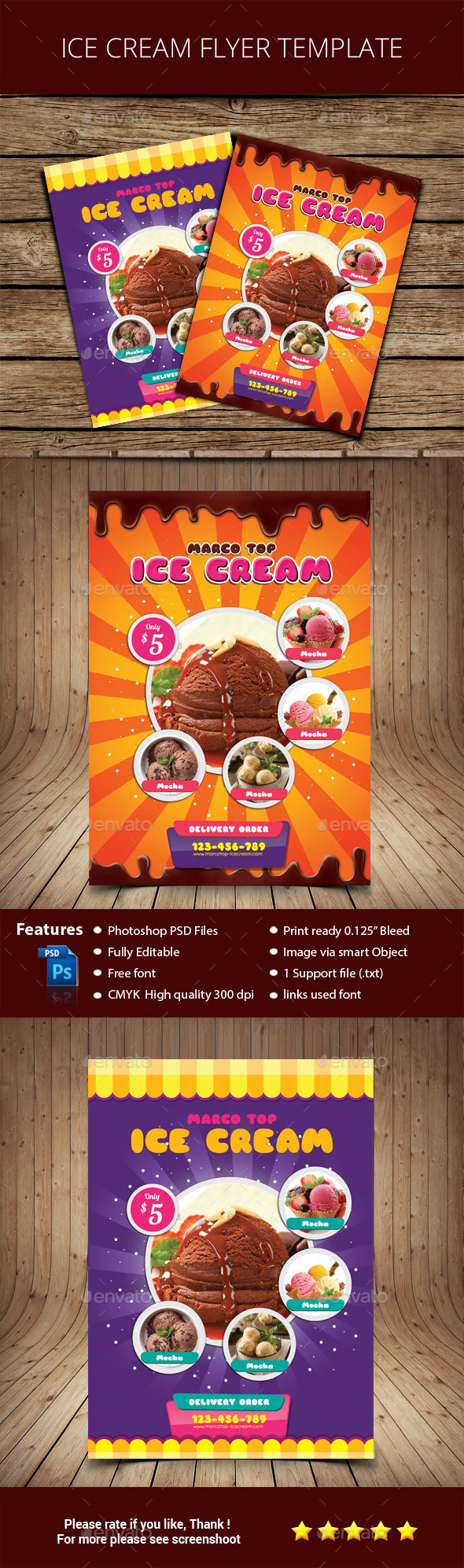 Ice Cream Flyer Template - Corporate Business Cards