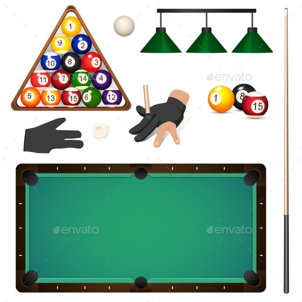 GraphicRiver Set of Pool Billiard Snooker Game Objects 20830871