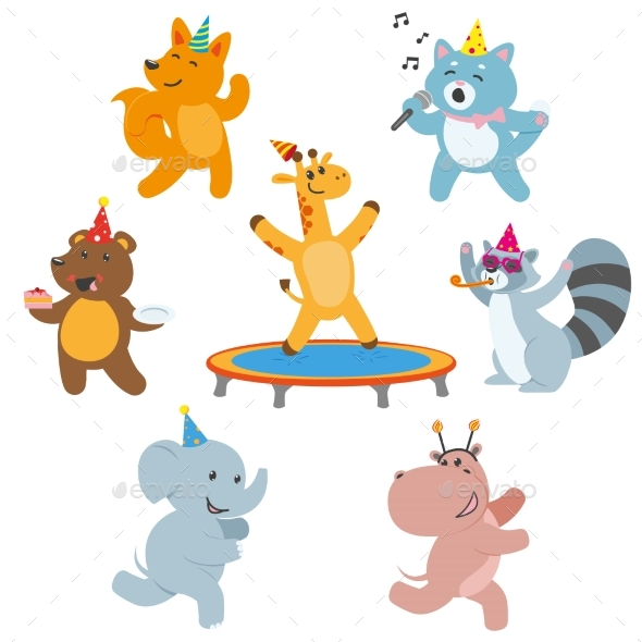 GraphicRiver Animal Characters Having Fun at Birthday Party 20830873