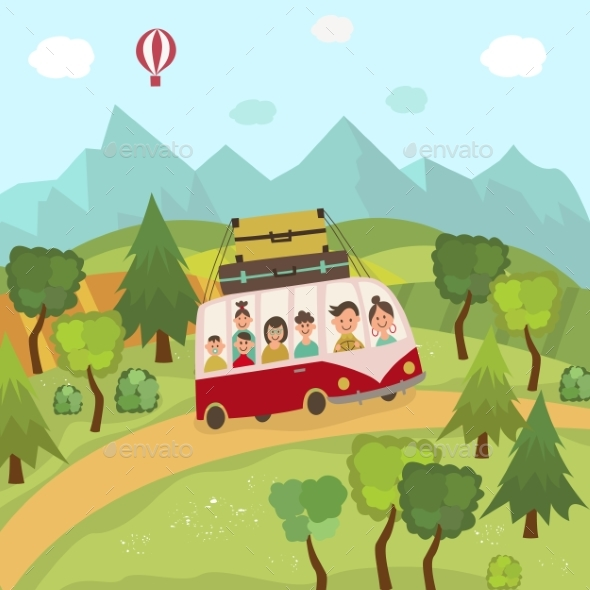 GraphicRiver Family Travelling By Bus in Countryside Fields 20830883