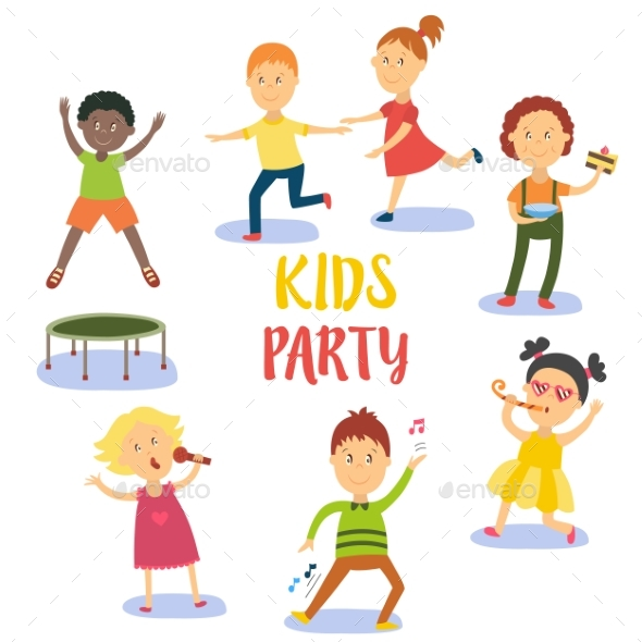 GraphicRiver Set of Kids Children Having Fun at Birthday Party 20830917
