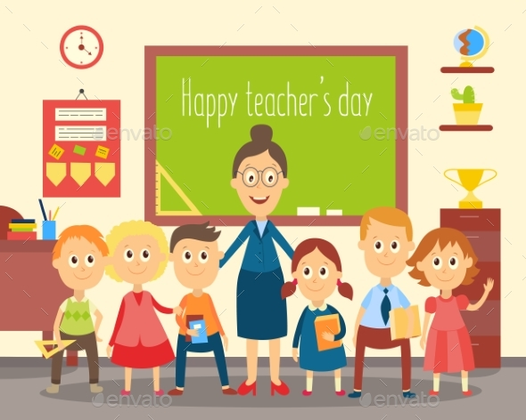 GraphicRiver Teacher and Students Pupils in the Classroom 20830942