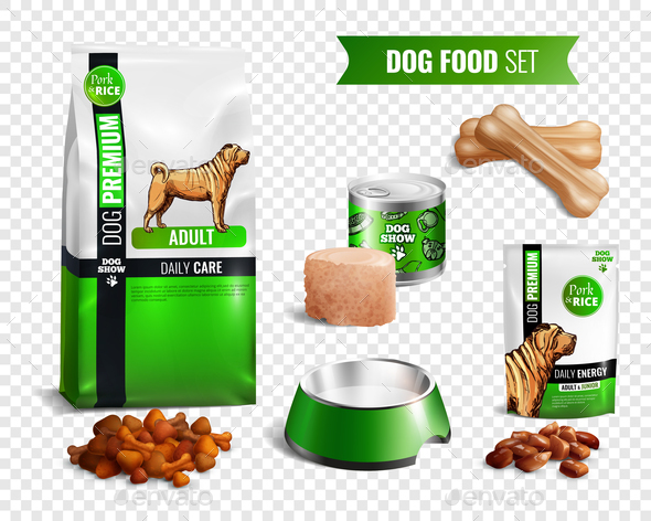 Dog Food Transparent Icon Set - Animals Characters