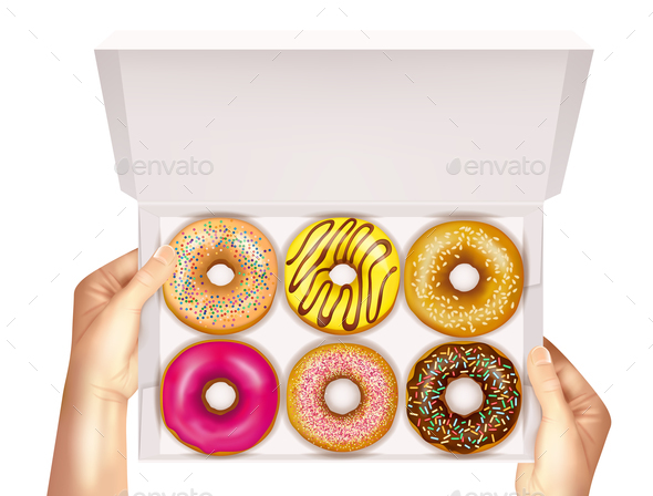 Realistic Donuts In Box In Hands - Food Objects