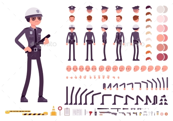Policeman Character Creation Set - People Characters