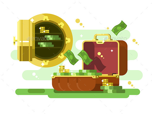 GraphicRiver Suitcase and Safe with Money and Golden Coins 20831078