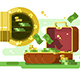 Suitcase and Safe with Money and Golden Coins - GraphicRiver Item for Sale
