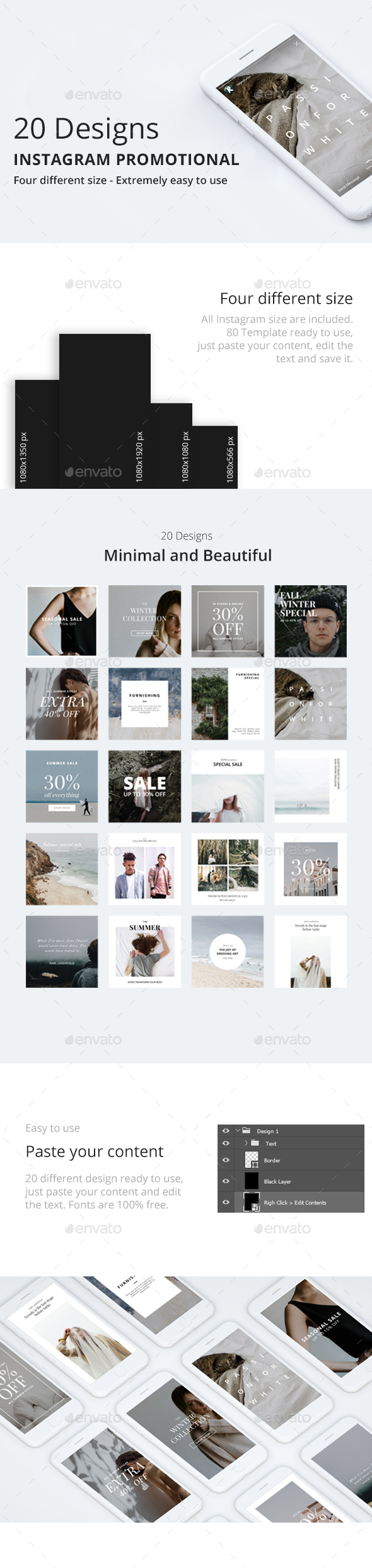 20 Instagram Promotional Template - Social Media Web Elements