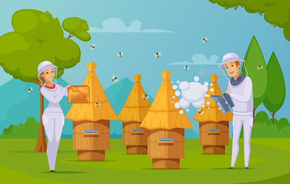 GraphicRiver Bee Farm Honey Collecting cartoon 20831226