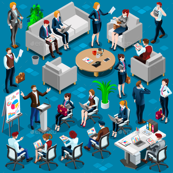 Isometric People Young Boss 3D Icon Set Vector Illustration - Vectors