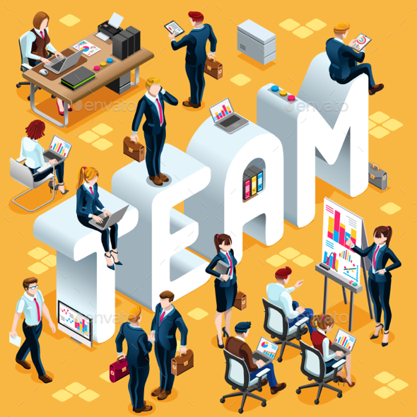 GraphicRiver Team Isometric People Icon 3D Set Vector Illustration 20831518