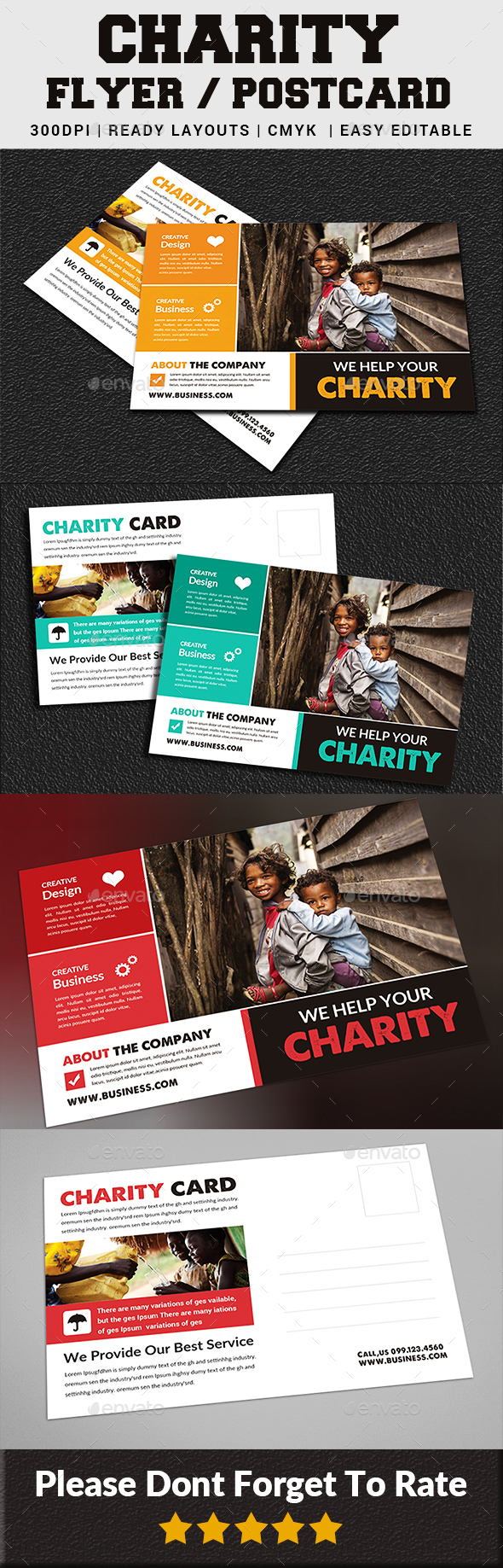 Charity Fundraisers Postcard - Cards & Invites Print Templates