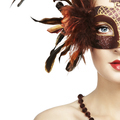 Beautiful young woman in brown mysterious venetian mask - PhotoDune Item for Sale