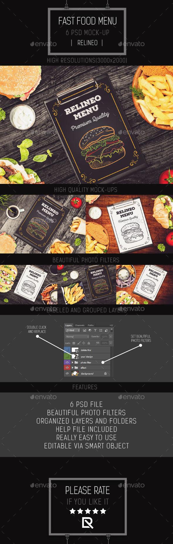 GraphicRiver Fast Food Menu Mock-up Pack Vol.1 20831822