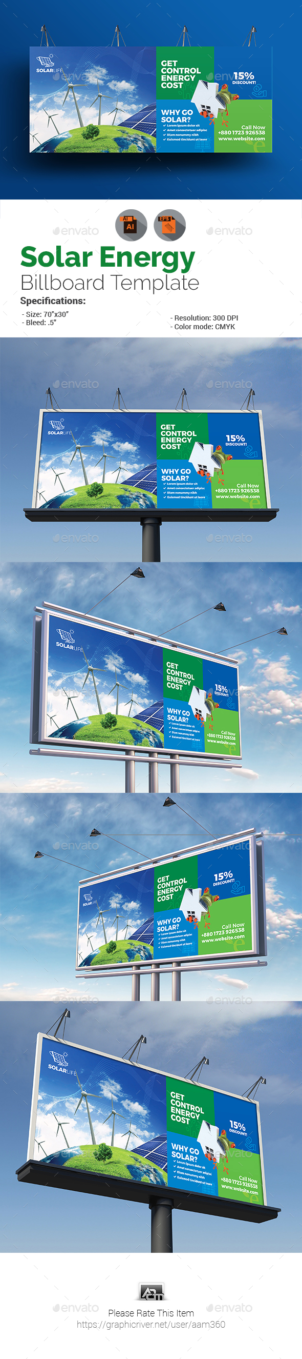 Green Energy or Solar Energy Billboard - Signage Print Templates