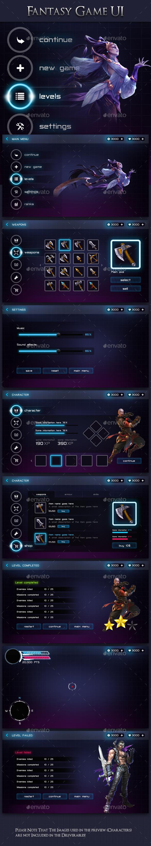 GraphicRiver Modern Fantasy Game UI Kit 20831909