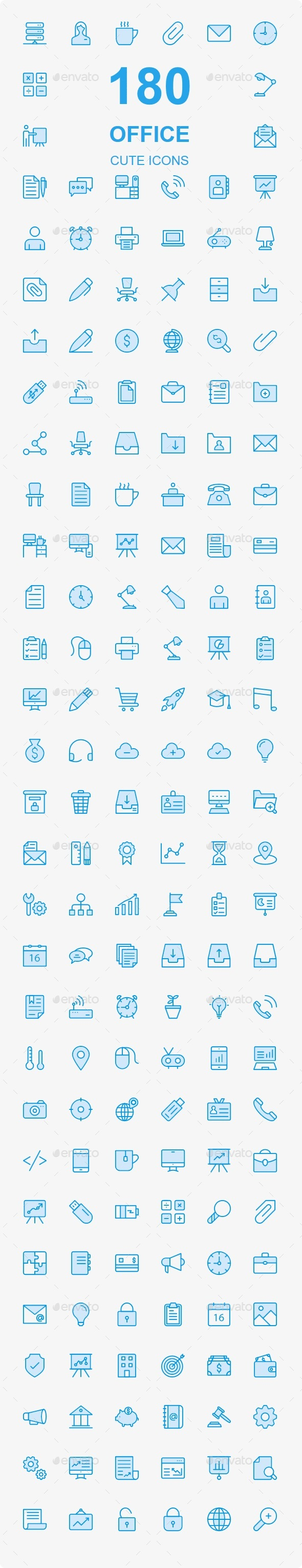 150+ Office Cute Style icons - Business Icons