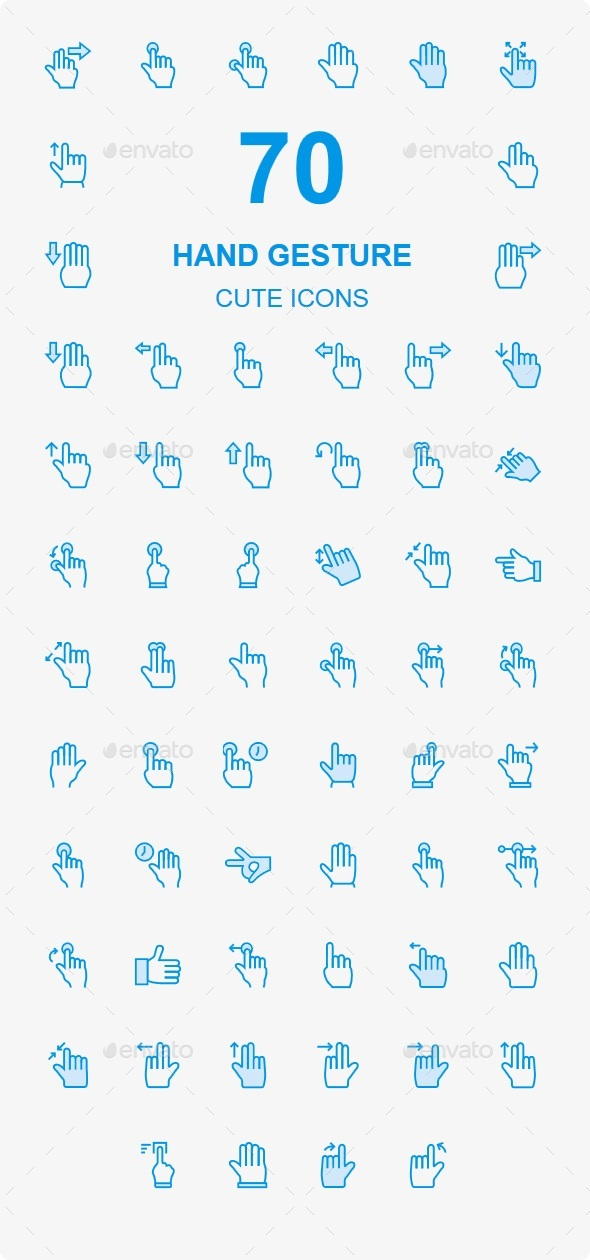 50+ Hand Gesture Cute Style icons - Business Icons